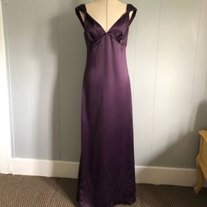 After Six Purple/Plum Satin Gown. Size 10.
